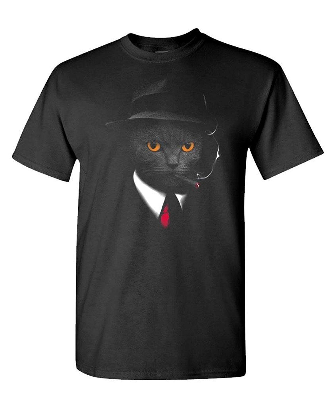 Original Black Tees Agent Cat Secret Kitty Cute Kitten Mens Cotton T Shirt Painted Organic Cotton T Shirts
