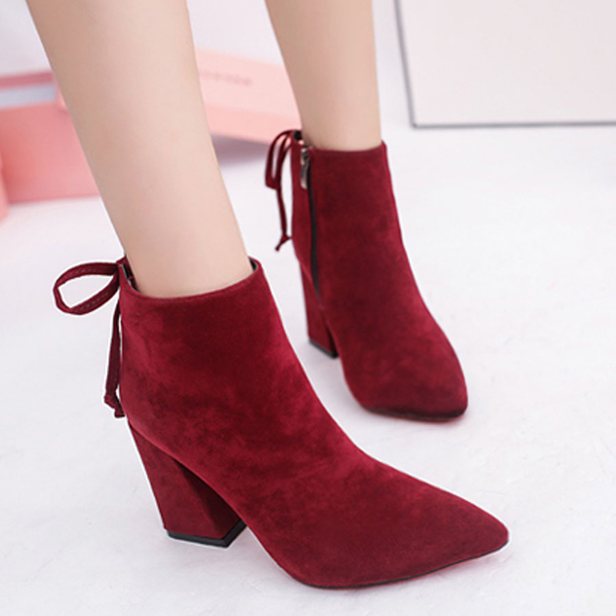 Women new winter autumn fashion ankle-length pointed toe boots Top Sale ladies flock thick heel all match scrub short boots hot sale autumn winter shoes round toe fashion ankle women boots sheepskin all match square high heel