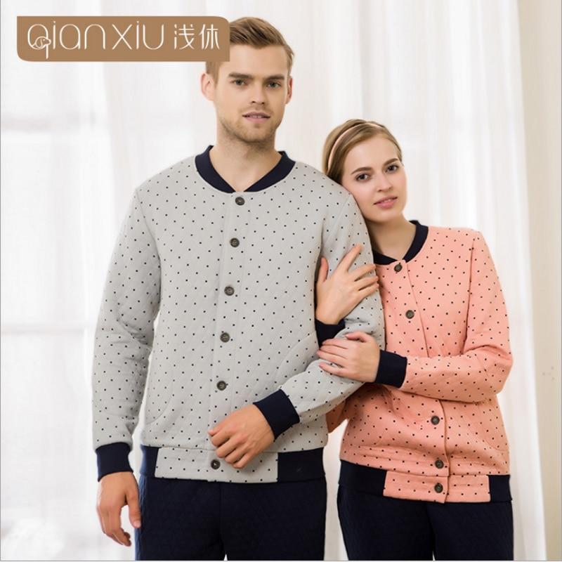 Pants Sleepwear-Suit Pajama-Sets Couples Long-Sleeve Male Winter Cotton Casual Velvet