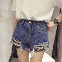 2017 Fashion Summer Splicing Fishnets Mesh Ripped Denim Shorts Women High Waist Denim Short Jeans Pant