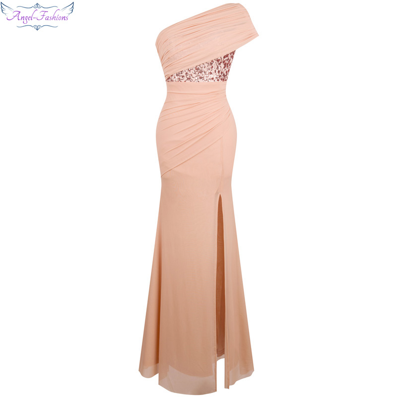 Angel fashions One Shoulder Pleat Ruched Sequin Slit Mermaid Long Evening Dress 350