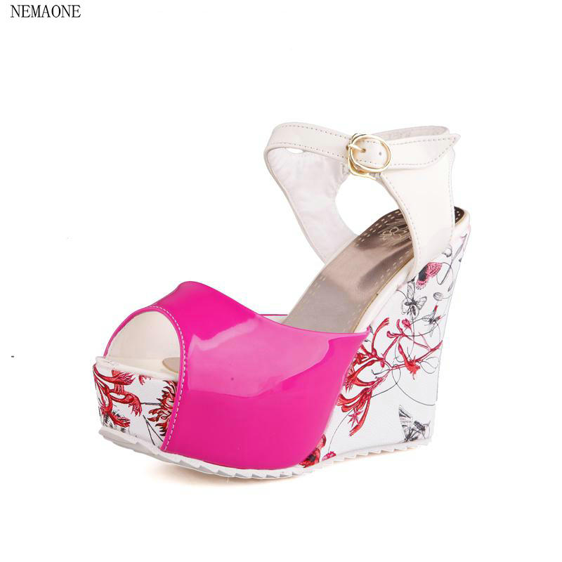 NEMAONE Big size Sexy Cutout Women Gladiator Lady Shoes High Heel Wedges Summer Peep Toe Platform Woman Sandals phyanic 2017 gladiator sandals gold silver shoes woman summer platform wedges glitters creepers casual women shoes phy3323