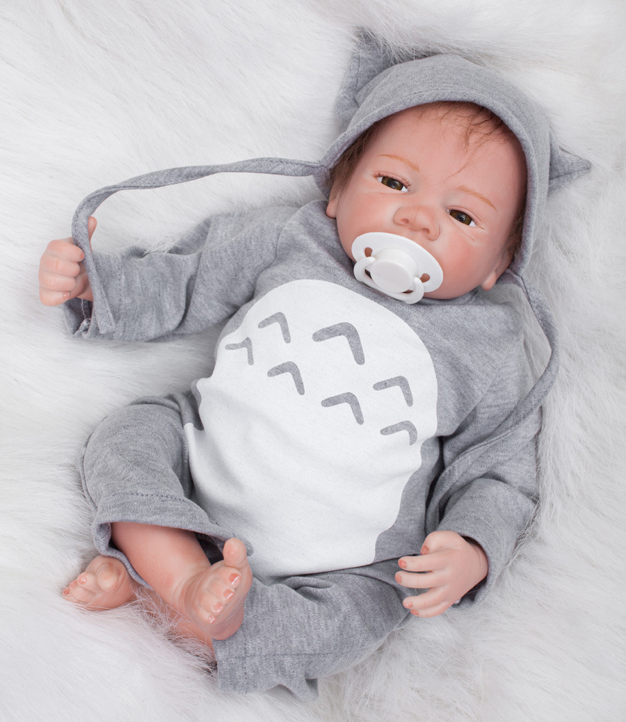 18inch Handmade 18''Reborn Baby Doll Boy Realistic Infant FULL BODY SILICONE With A Pacifier fot Nursery train kindergarten creative mustache style infant pacifier