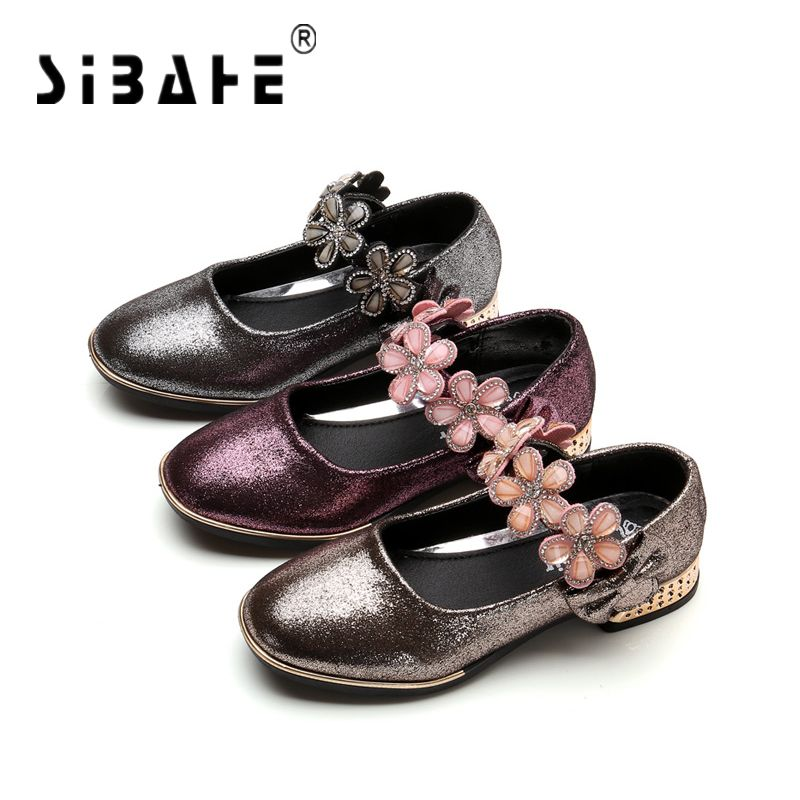 Sibahe Girls Leather Shoes Children Party Princess Shoes Kids Wedding Flat Shoes with Flower Ballerinas Flat Shoes size 27-37
