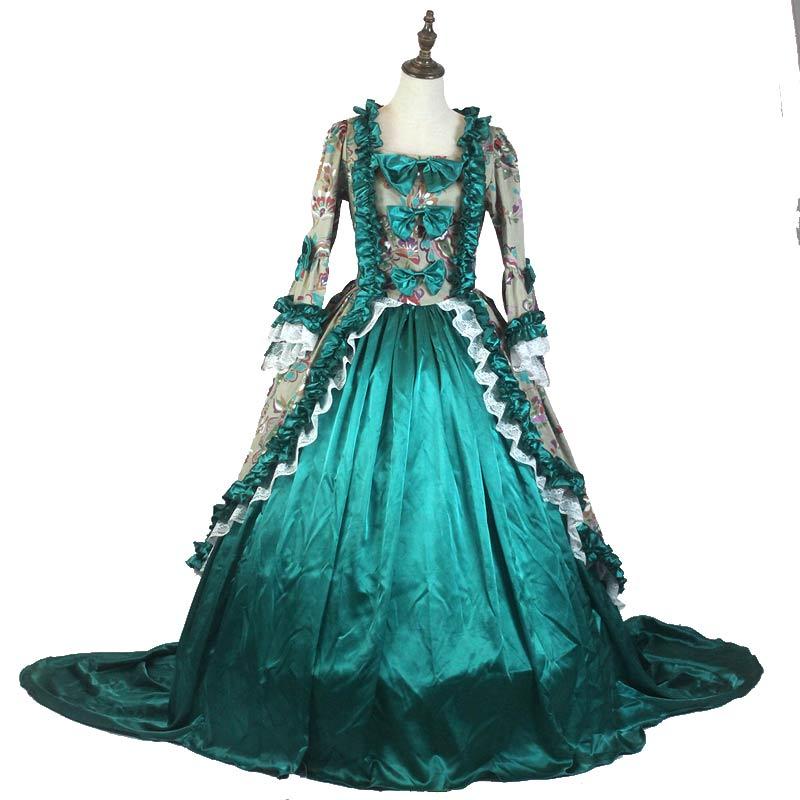 18th Century gothique victorienne princesse traînant robe motif imprimé flore manches longues Marie Antoinette historique robes de bal