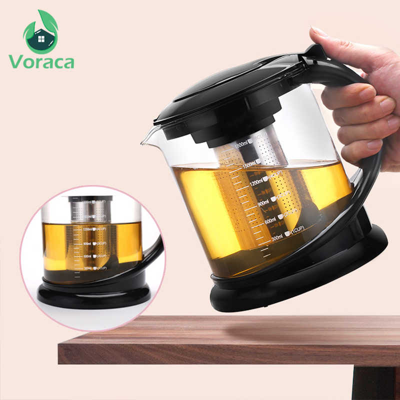 1800ml Heat Resistant Glass Teapot Large Capacity 1000ml Chinese Kung Fu Puer Oolong Tea Pot Set Infuser Filter Container Teapot