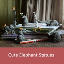 Cute Elephant Figurines Dolls Collection Resin Statues Craft Home Garden Decoration Micro landscape Ornament Desktop Ornament