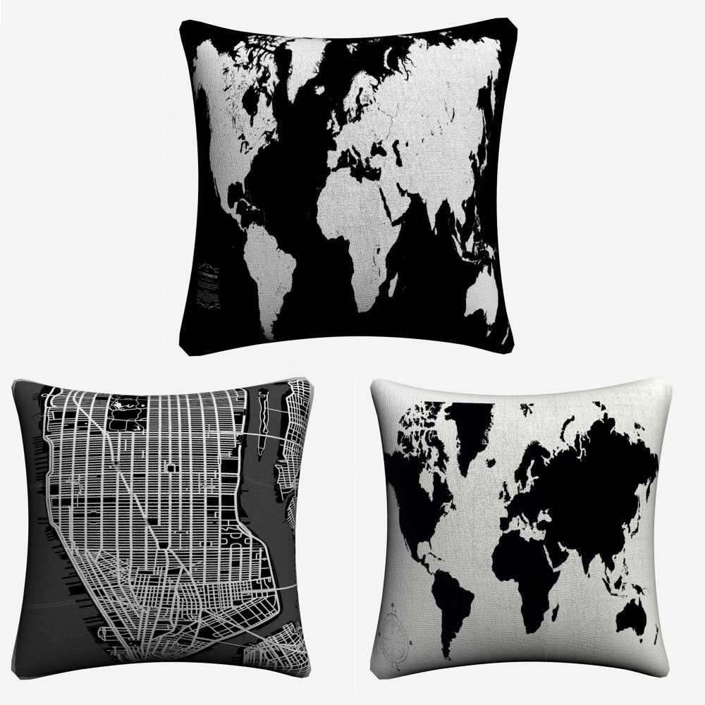 สีดำและสีขาว World แผนที่ตกแต่งผ้าลินินหมอนครอบคลุมสำหรับโซฟา 45x45 เซนติเมตรโยนหมอนกรณีตกแต่งบ้านปลอกหมอน Almofada