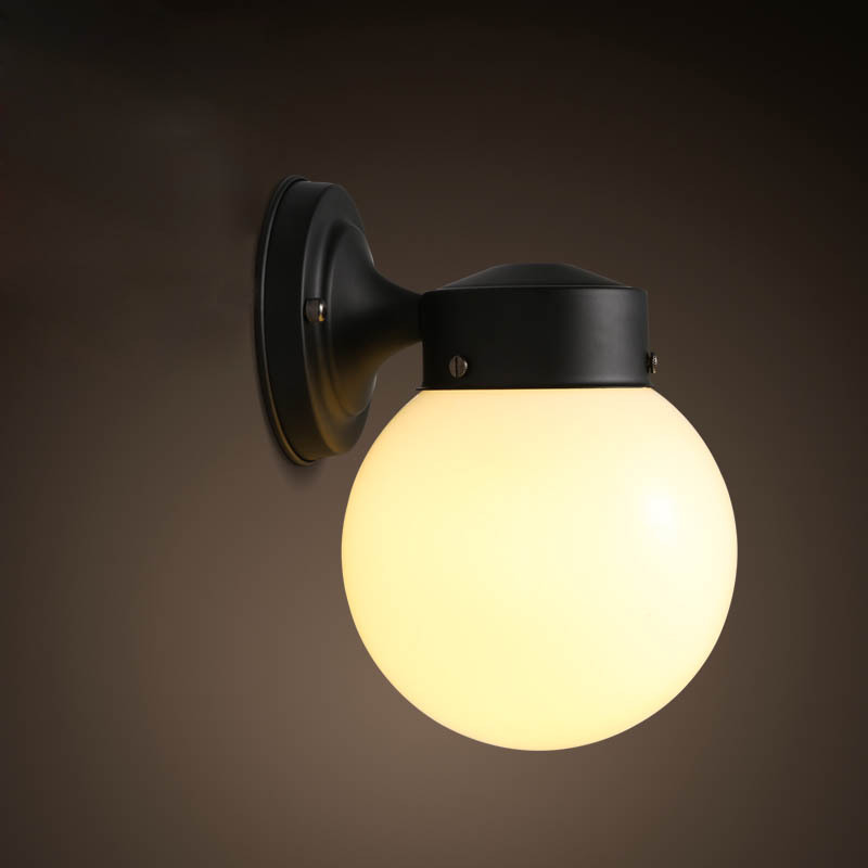 Modern Brief Personally Loft Vintage Ameican Glass Ball Iron led Wall Sconce Lamp Bathroom Mirror Home Decor Lighting Fixture novelty led wall lamps glass ball wall lights for home decor e27 ac220v