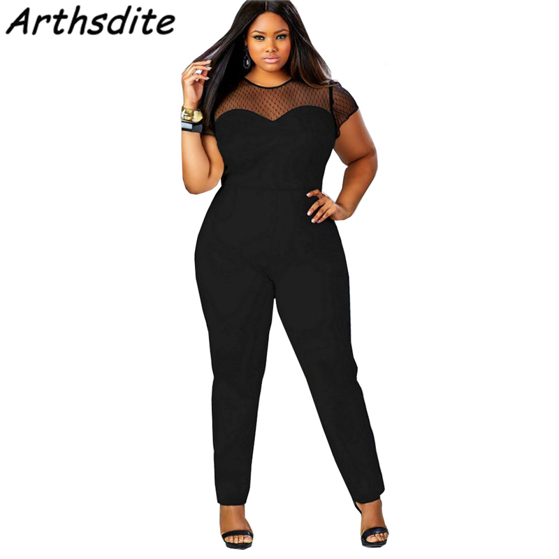 Arthsdite Women Rompers Sexy Patchwork Lace Jumpsuit Summer Short Pleated Overalls Trousers Plus Size 3XL 4XL Mesh Playsuit