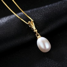 PAG&MAG 2017 New 8-9mm Drop Pearl Pendant 925 Sterling Silver Freshwater Pearl Pendant High Quality Brand Jewelry 18K Gold Color