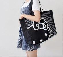 2016 de Bande Dessinée nouvelle annonce grande capacité toile sac Bonjour Kitty portable pliant épaule zipper sac