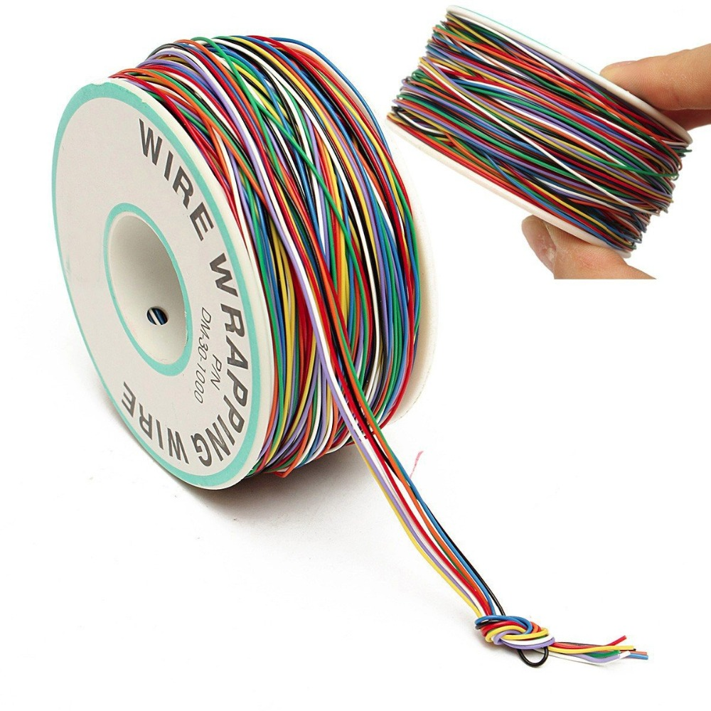 Tin Plated Copper Cord Wire Colored Insulation Cable OK Wire Wrapping P/N DM-30-1000 250M 30 AWG Tinned Copper Solid Cable