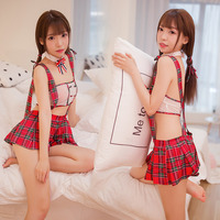 New Arrived Cosplay Student Uniform Sexy Red White Grid Plaid Strap Student Suit Skirt Students Clothes For Girl Exotic Costumes