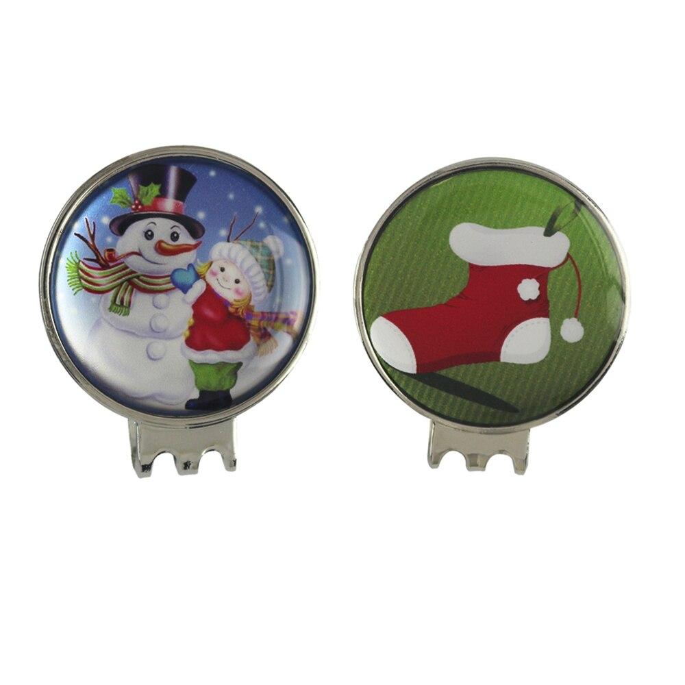 Calcetín de navidad y Muñeco de Nieve Marcadores De Pelota De Golf con Clips Som
