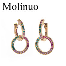Molinuo paved multicolor cz geometric double ring hoop earrings simple jewelry charm lovely girl woman dangle