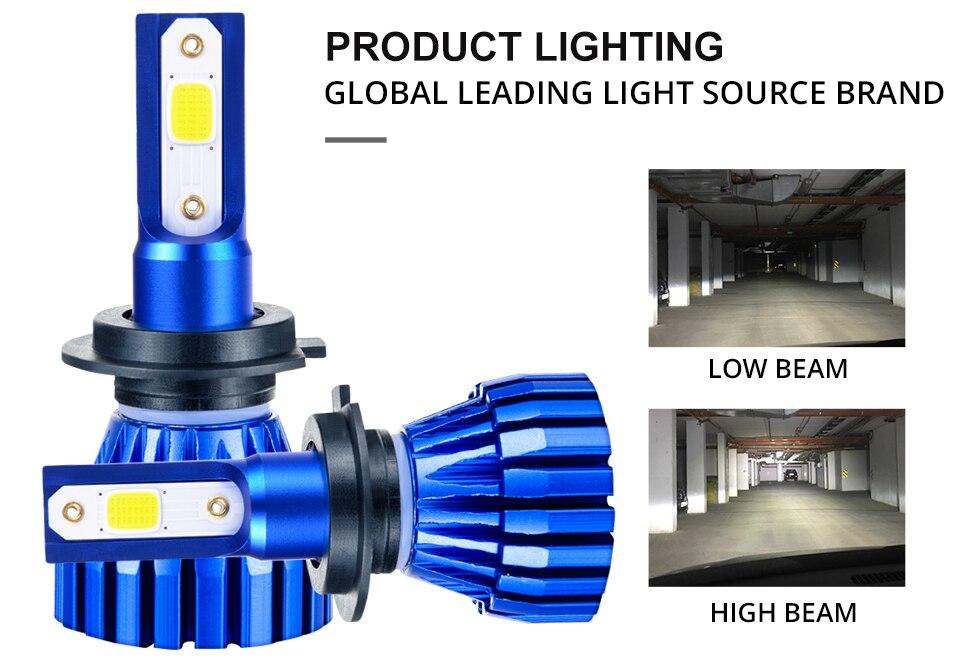 Aceersun 2Pcs 9005 HB3 9006 HB4 H11 H4 H7 Led H1 Auto Car Headlight 72W 8000LM 6500K Automobile Bulb COB CHIP 4300k H3 Fanless (7)