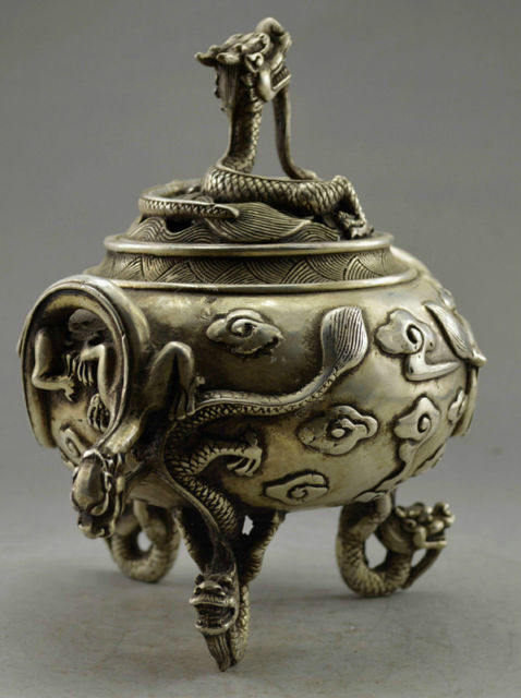 Exquisite Chinese Collectible Decorated Old Handwork Tibetan Silver Carved with 6 Dragon Incense Burner in Figurines Miniatures from Home Garden
