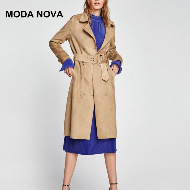 MODA NOVA Designer Fashion Vintage Long   Trench   Coat Women Suede Sashes Lace Up Underwear 2018 Female Autumn Winter Coats Befree