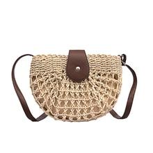 LadiesSimple and Fashionable Semi-circular Woven Rattan Bag Round Straw Shoulder Small Beach HandBags Single Shou