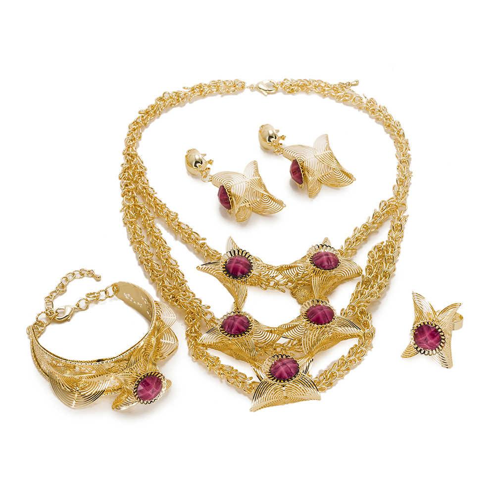 BAUS 2018 Dubai Vàng màu bộ đồ trang sức Nigeria wedding Beads phi ethiopia phụ kiện Cô Dâu big necklace earrings bộ