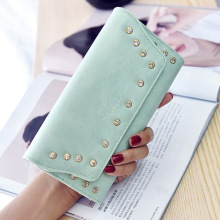 Hot Sale High Quality PU Leather Women Rivet font b Wallets b font Card Holders Billeteras