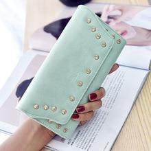 Hot Sale High Quality PU Leather Women Rivet Wallets Card Holders Billeteras 2016 Fashion Long Design Clutch Bag Ladies Purs