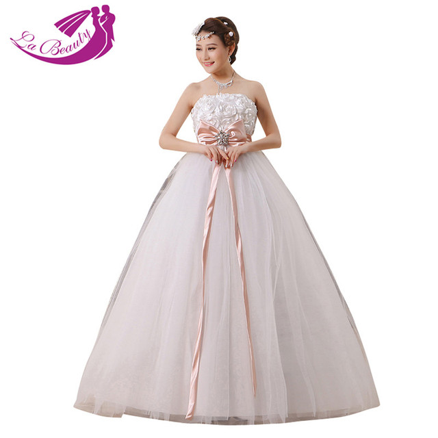 09cd4c49c New white wedding dress Flower strapless pink bow sashes with stone bridal  gown Floor-length ball gown vestido de noiva H047