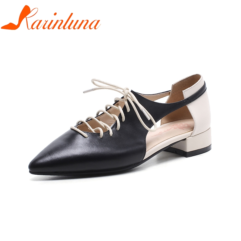 KARINLUNA 2018 Genuine Leather Large Size 33-40 Pointed Toe Women Shoes Woman Lace Up Chunky Heels Women Pumps 2017 genuine leather women pumps cut out lace up chunky heels handmade vintage women shoes