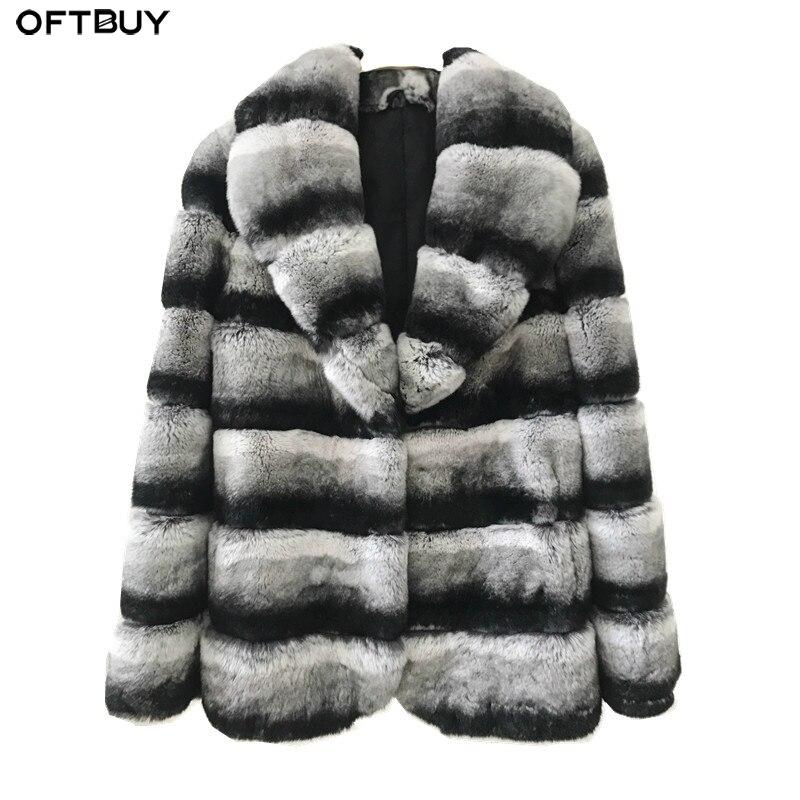 OFTBUY 2019 Winter Jacket Women Real Fur Coat Natural Rex Rabbit Fur Outerwear Casual Streetwear Brand Luxury Turn Down Collar