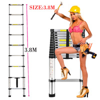 3.8m Thickening alloy aluminum Gates & Doorways herringbone portable retractable ladder multifunctional folding ladder stair