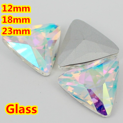 12mm,18mm,23mm Crystal AB Color Triangle Glass Crystal Fancy Stone Bling For Jewelry Making/Wedding dress