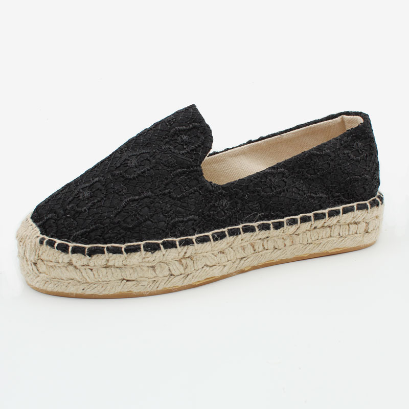 Women Fashion Handmade Lace Espadrilles Slip on Casual Canvas Loafers Ladies Flat platform Shoes e lov new arrival luminous canvas shoes graffiti pisces horoscope couples casual shoes espadrilles women