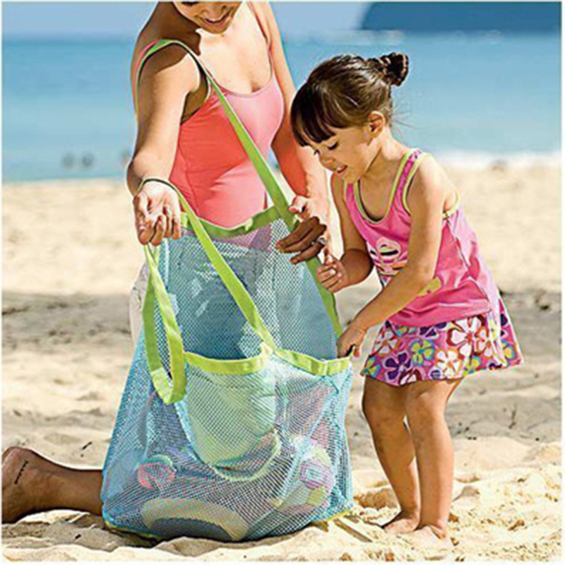 Mesh Beach Bag Portable Foldable Swimming Bag For Children Beach Toy Baskets Storage Bag Kids Outdoor Swimming Waterproof Bags