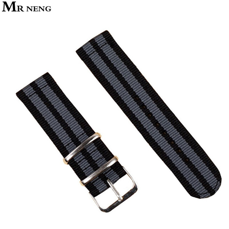 MR NENG Brand Watch Band NATO straps 18mm 20mm 22mm 24mm watch accessories men Black Grey stripe Watchbands For zulu Strap