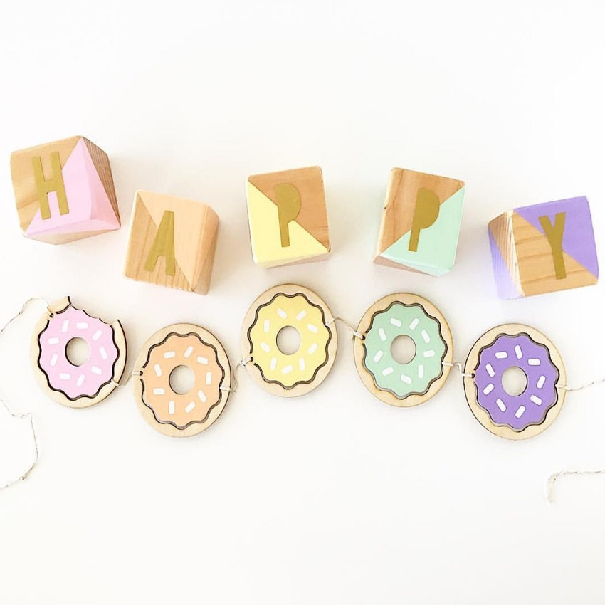 Banners For Bedrooms: Cute Doughnut Set Wood Banner For Kids Boy Bedroom Wall