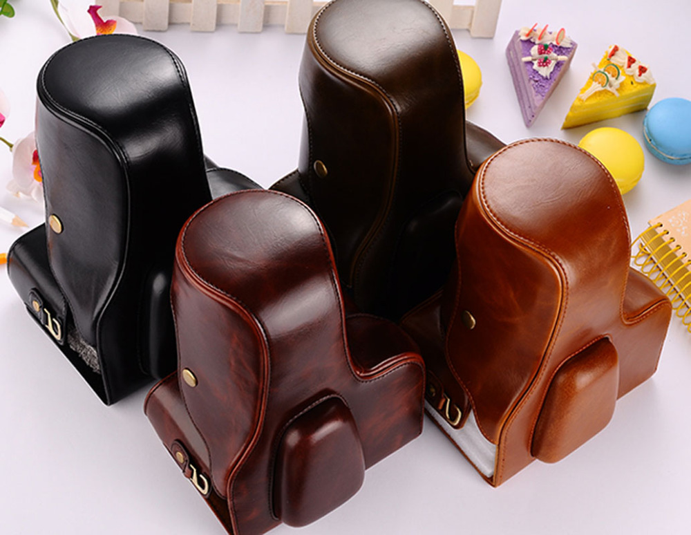 New Retro Vintage Pu Leather Camera Bag <font><b>Cover</b></font> Case for <font><b>Canon</b></font> EOS 1100D 1200D <font><b>550D</b></font> Black Coffee Brown 3 Color image