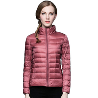 e2bd5c5c532a3d Winter Women Ultra Light Down Jacket 90 Duck Down Stand Collar Jackets Long  Sleeve Warm Slim