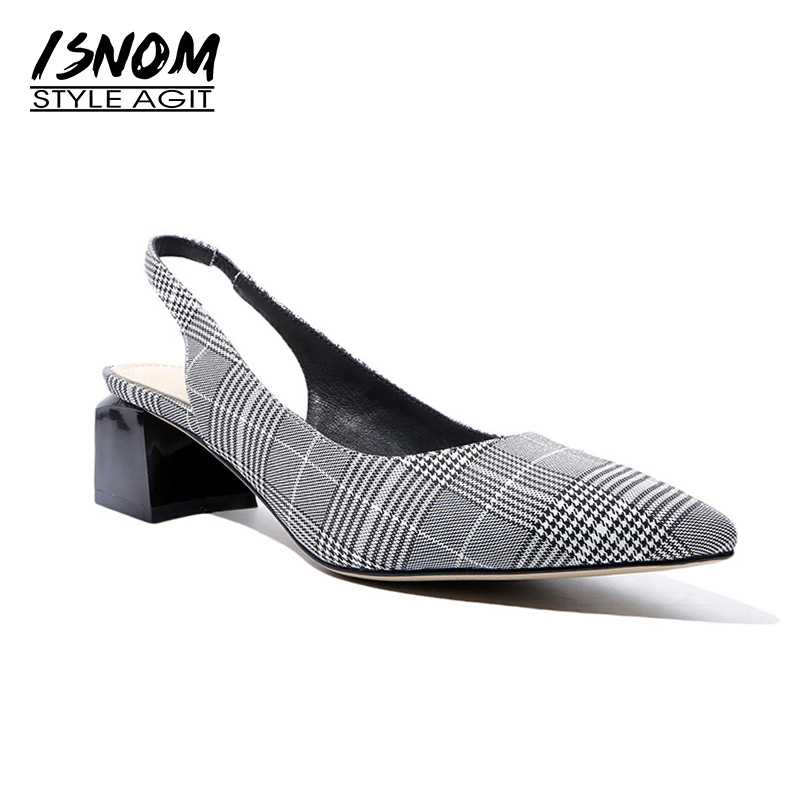 ISNOM New Summer Thick High Heels Sandals Women Plaid Cloth Pointed Toe Strange Style Footwear 2018 Office Fashion Female Shoes wholesale lttl new spring summer high heels shoes stiletto heel flock pointed toe sandals fashion ankle straps women party shoes