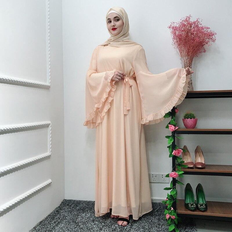 Chifffon Vestidos Ramadan Kaftan Abaya Arabic Islamic Muslim Maxi Dress Caftan Elbise Hijab Eid Dresses Robe Femme Musulmane