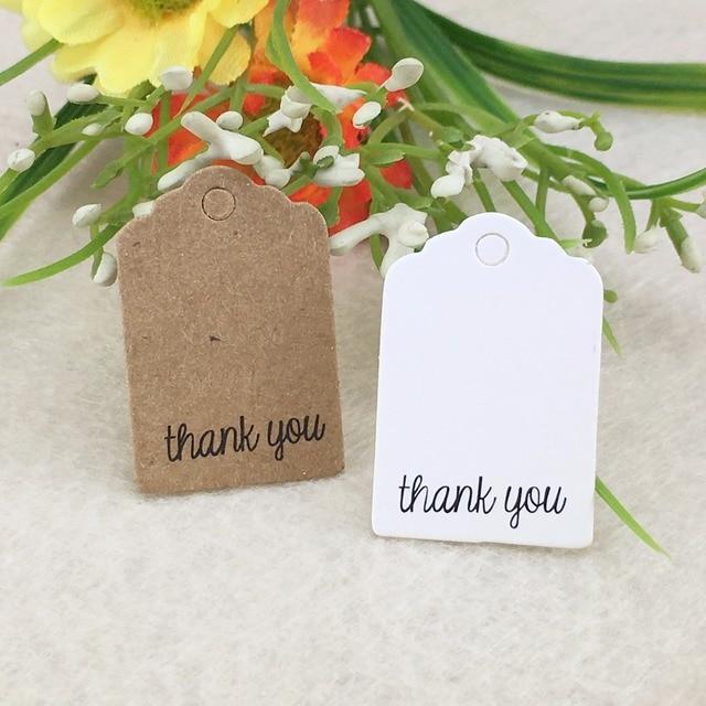 600pcslot 3x2cm Scalloped Kraft Paper Card Thank You Tag