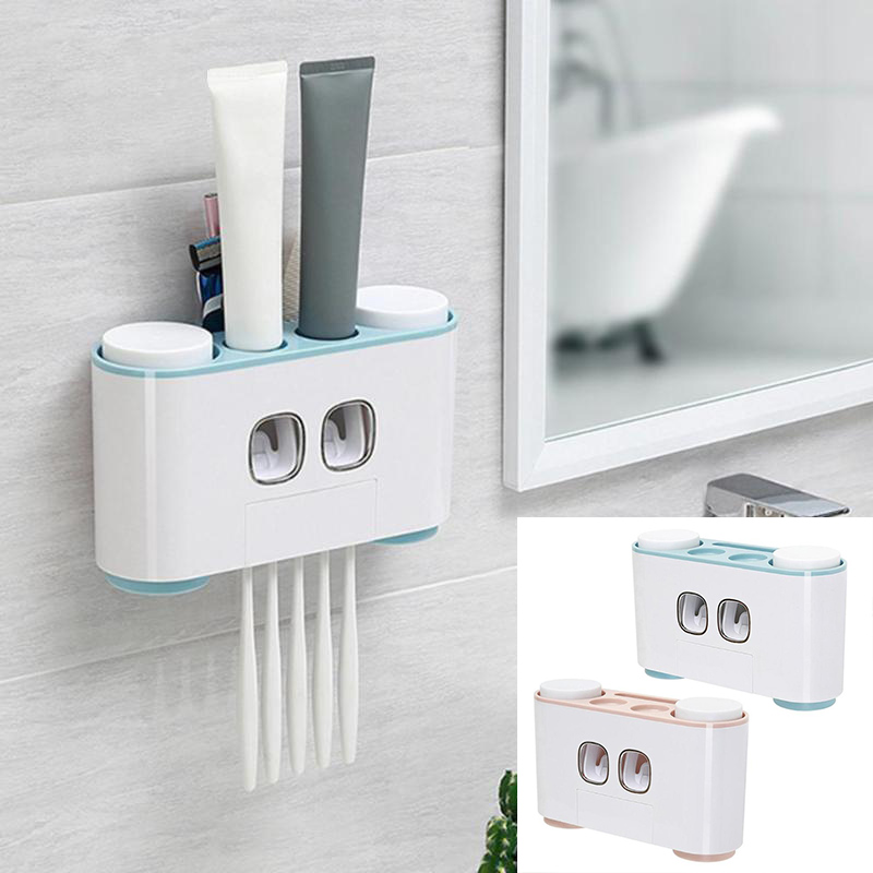 5 <font><b>Racks</b></font> Dust-proof <font><b>Toothbrush</b></font> Holder with Cups Toothpaste Dispenser Automatic Wall Stand Shelf Bathroom Kitchen Organizer 2color image
