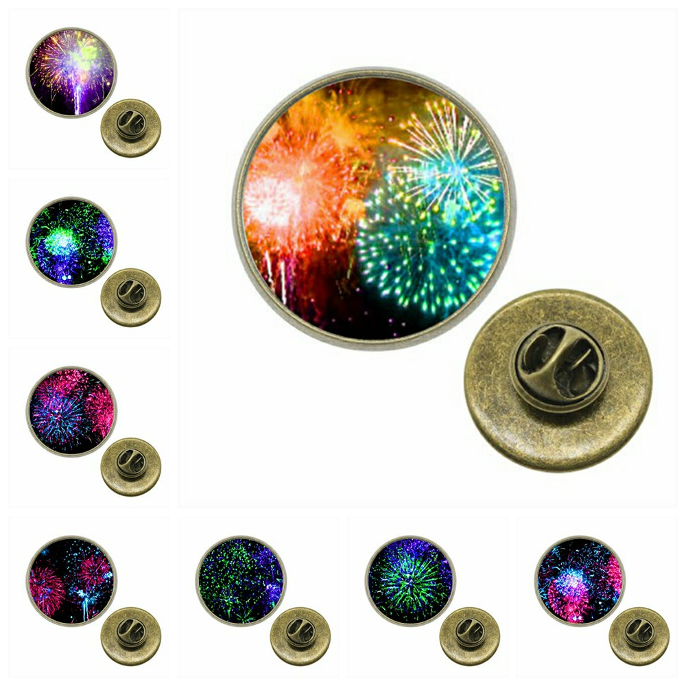 Glorious 10pcs/lot 12~20mm Round Glass Cabochon Brooch Pin Fireworks Glass Cabochon Brooches Pins For Women Xa-z-g1757 Elegant Appearance Brooches