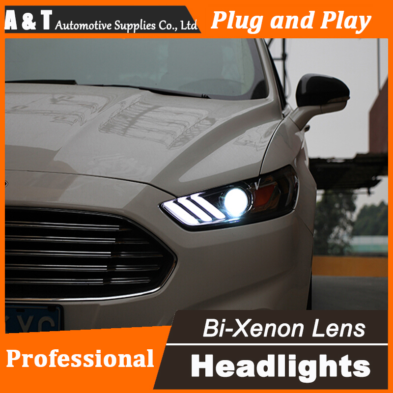 Auto.Pro Car Styling for Ford Mondeo Headlights 2013-2015 DRL Lens Double Beam for Mustan LED Headlight HID Xenon bi xenon lens hireno headlamp for 2013 2015 nissan tiida headlight assembly led drl angel lens double beam hid xenon 2pcs