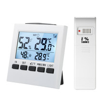 Hygromètre d'intérieur/extérieur sans fil de thermomètre de Digital d'affichage à cristaux liquides ℃/mètre d'humidité de la température avec l'émetteur minimum maximum d'affichage de valeur