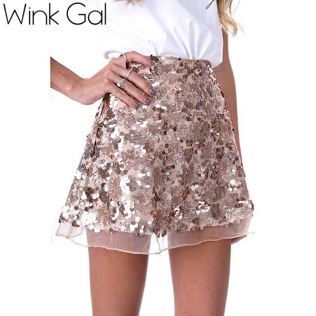 Aliexpress.com : Buy Wink Gal Autumn gold sequin A line skirt ...
