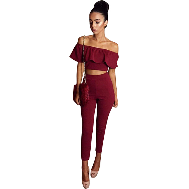 1b9646bc98b322 2pcs sets Women Evening Party High Waist pants trousers and Slash Neck Crop  Tops female Stretch