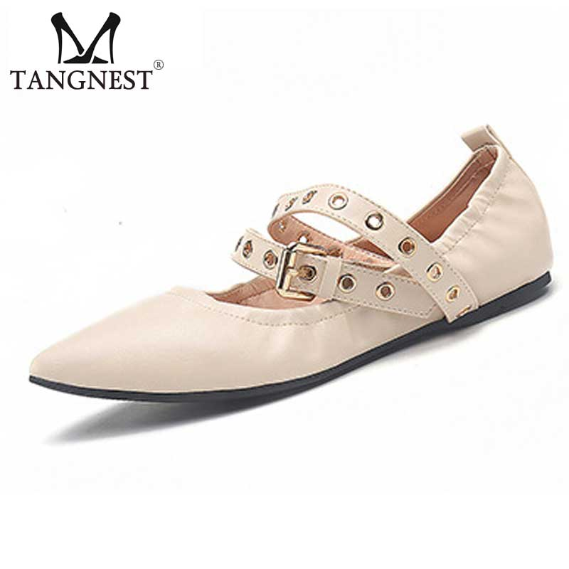 Tangnest Women Pointed Toe Flats 2017 Summer New Ballet Flats Women Chic Ankle Buckle Strap Shoes Comfort Woman Loafers XWD5016 spring autumn solid metal decoration flats shoes fashion women flock pointed toe buckle strap ballet flats size 35 40 k257