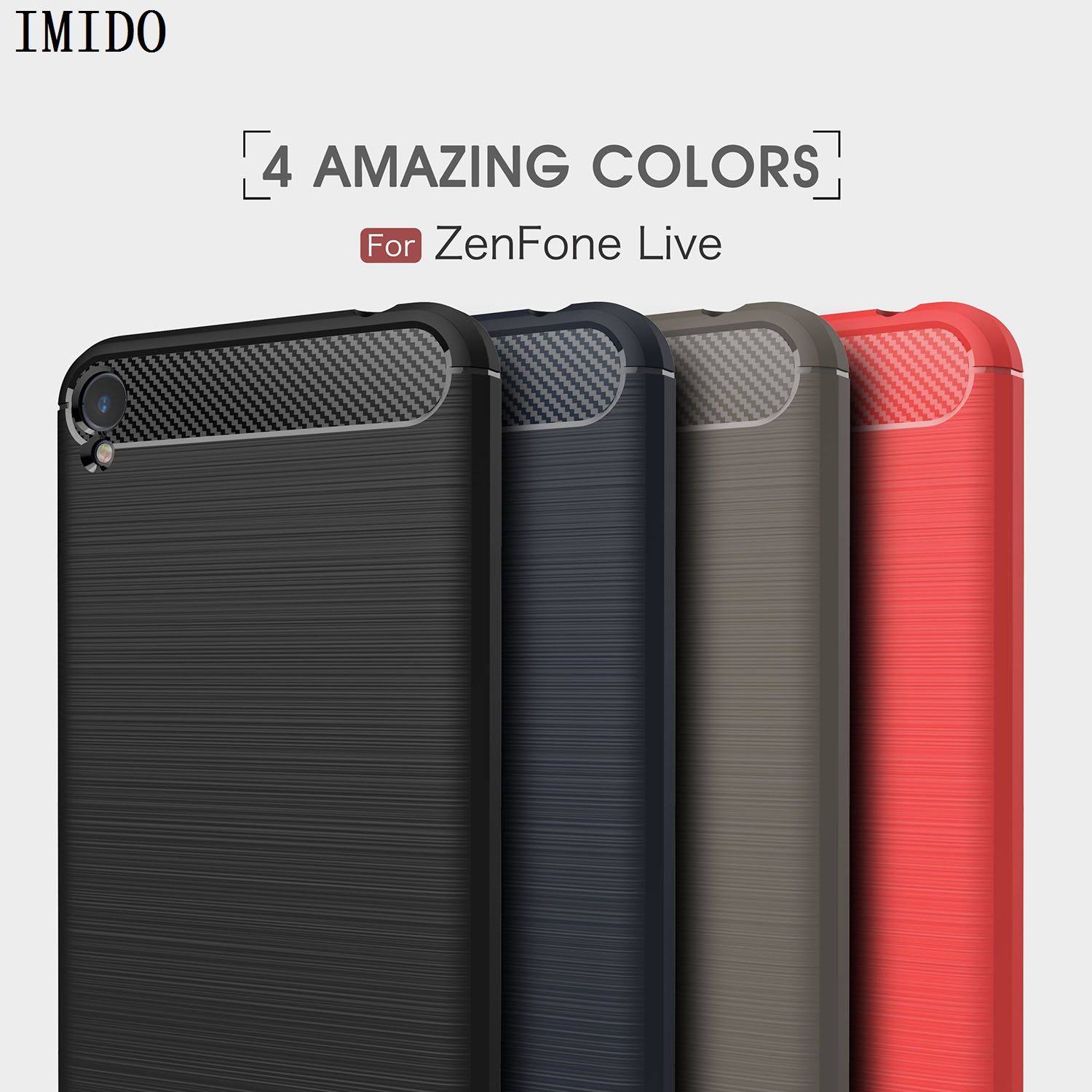 IMIDO For Asus Zenfone Live ZB501KL A007 5.0 inch Soft Carbon Fiber Anti Knock Back Cover on ZB501KL A007 5.0 inch