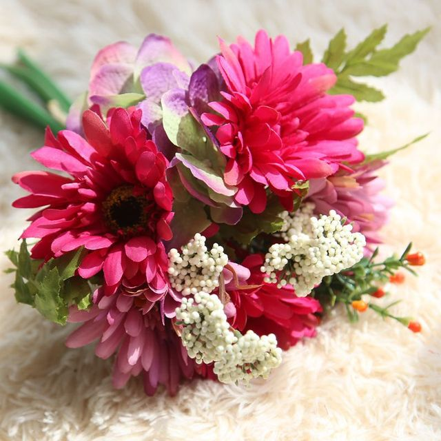 7 Zweige Kunstliche Gerbera Blume Hochzeit Brautstrauss Kunstliche